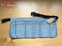 Multi pockets gray canvas waist gardening tool apron