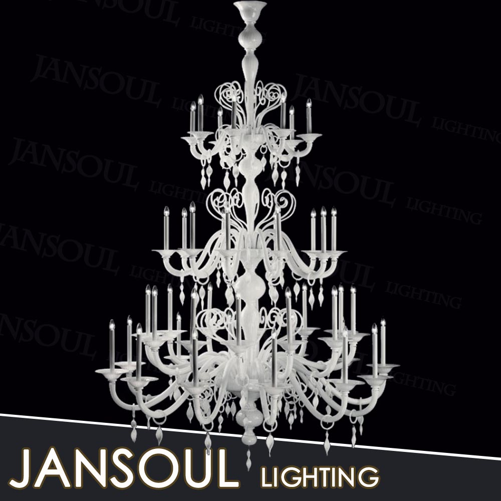 24 lamps white modern hotel lights luxury 3-tiers glass blooming tree chandelier
