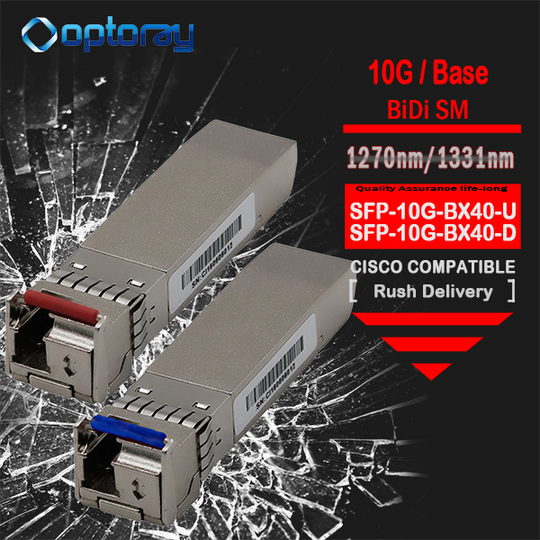 10GB-BX40-U 10Gb Single Fiber SM Bidirectional, 1270nm Tx / 1330nm Rx, 40 Km, Simplex LC SFP+ 10GBase-BX-U transceiver module