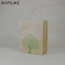 Eco-friendly printed tote shopping bag custom brown kraft paper bag with custom logo