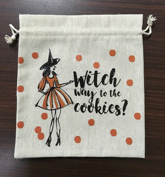 Reusable drawstring linen Christmas cookie or biscuit bags