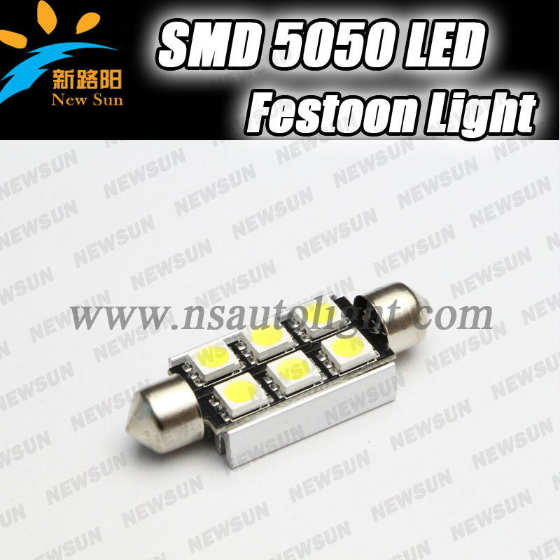 2014 NEW no flash most stable car led light festoon bulb 12v 3w canbus bulb,c5w 6smd 5050 sink