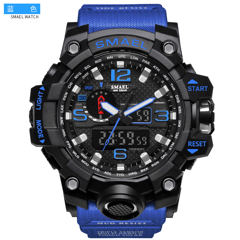 Smael Brand Electronic Sports Watches Military G style <strong>Men</strong> Outdoor 50M Dive Waterproof Dual Time Digital Analog Quartz Led Watch