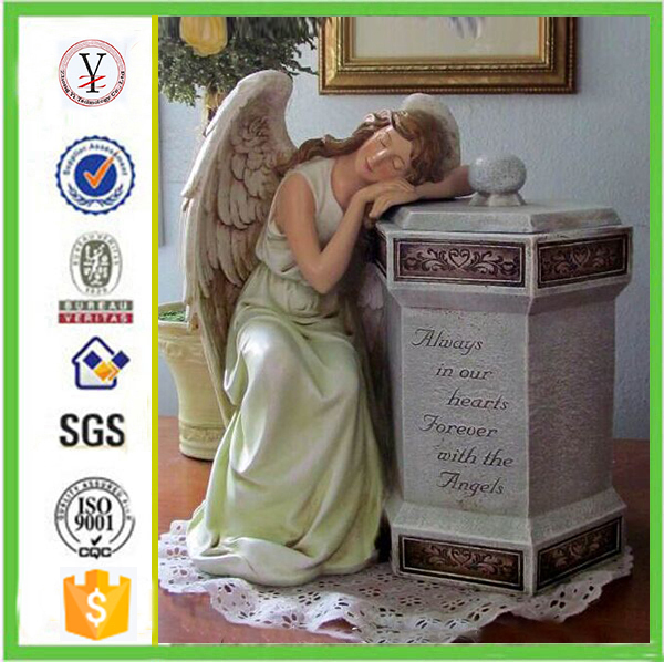 factory custom-made handmade carved fashion resin urns with angels