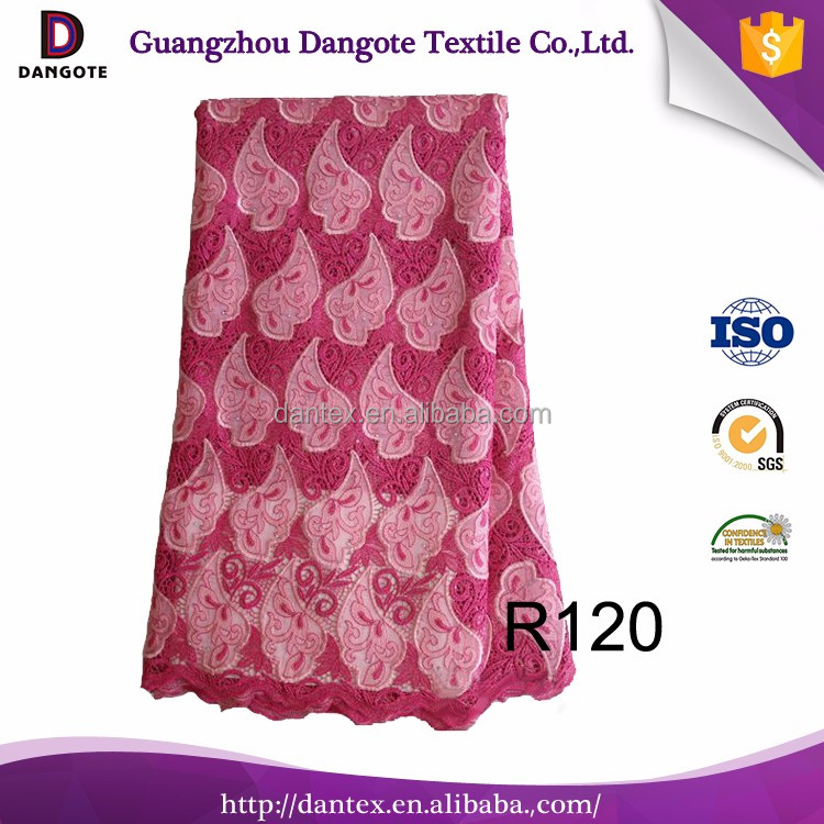 Dangote african lace in fushia indian lace embroidery fabric for dress making guipure organza
