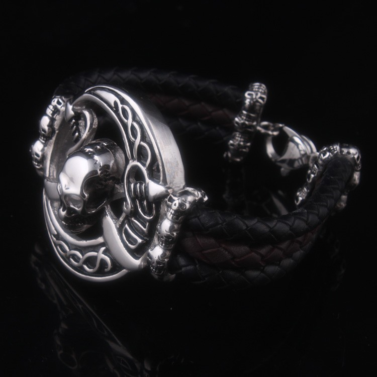 316l Stainless Steel Curb Bracelet With Leather Stainless Steel Braided Leather Bracelet With Skull Head