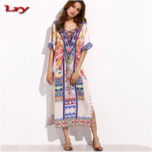 2017 Bohemia beach dress ethnic Kaftan Long Dress Women Vintage V-neck Tunic Boho Casual Printed maxi kaftan dress india