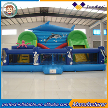 Direct manufacturers of large slide inflatable marine theme slide jump bed shark land slide inflatable jumping naughty Fort