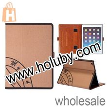 Cowboy Jeans Cloth Canvas Stand Flip Leather Case For iPad Mini 2 Retina with Hand Strap