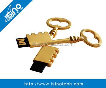 Golden Metal Key USB Flash Disk with Genuine USB Chip
