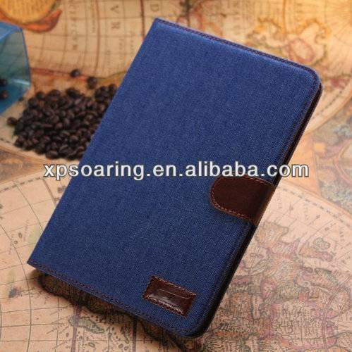 Credit card stand leather case pouch For ipad Mini 2 Jeans design