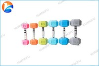 Factory Wholesale Hot Sale Gym & Fitness & Crossfit Fashion Colored Rubber Hex Dumbbell Set