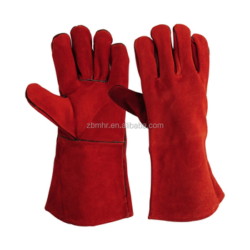 Brand MHR BC grade cow split welding gloves from China manufacturer