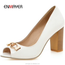 Brand name high heel shoes fashionable peep toe ladies chunky heel shoes upper in PU wholesale