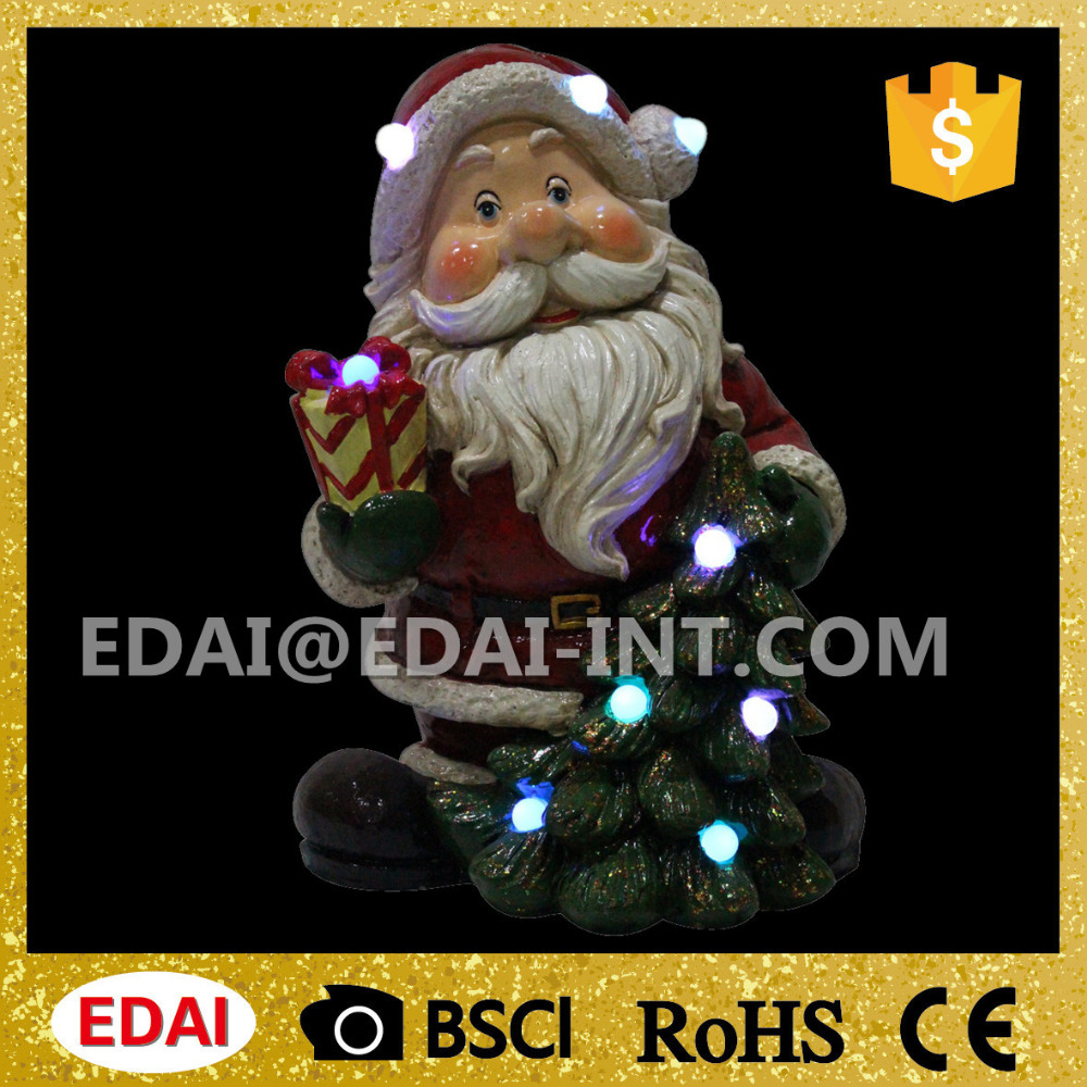 New design resin musical big head christmas santa with colorful led lights