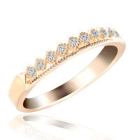 Thin Bands Ring Pricess Crown Shape Micro Pave Setting Zircon Beads Ring For Girls