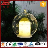 Bulk christmas lights hanging glass ball with led candle inside