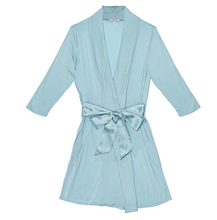 Wholesale Sexy Latex Solid Women Sky Blue Sexy Rayon Jersey Knit Robe with wide Waist Tie