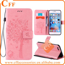 "Coque for iPhone 6 6s Plus 5.5"" Tree and Cat Embossed Leather Wallet Card Holder Stand Flip Phone Cover Case for iPhone 4.7"""