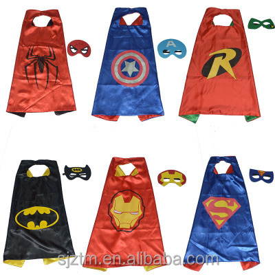 Popular superhero custom printed cape and mask set for kids