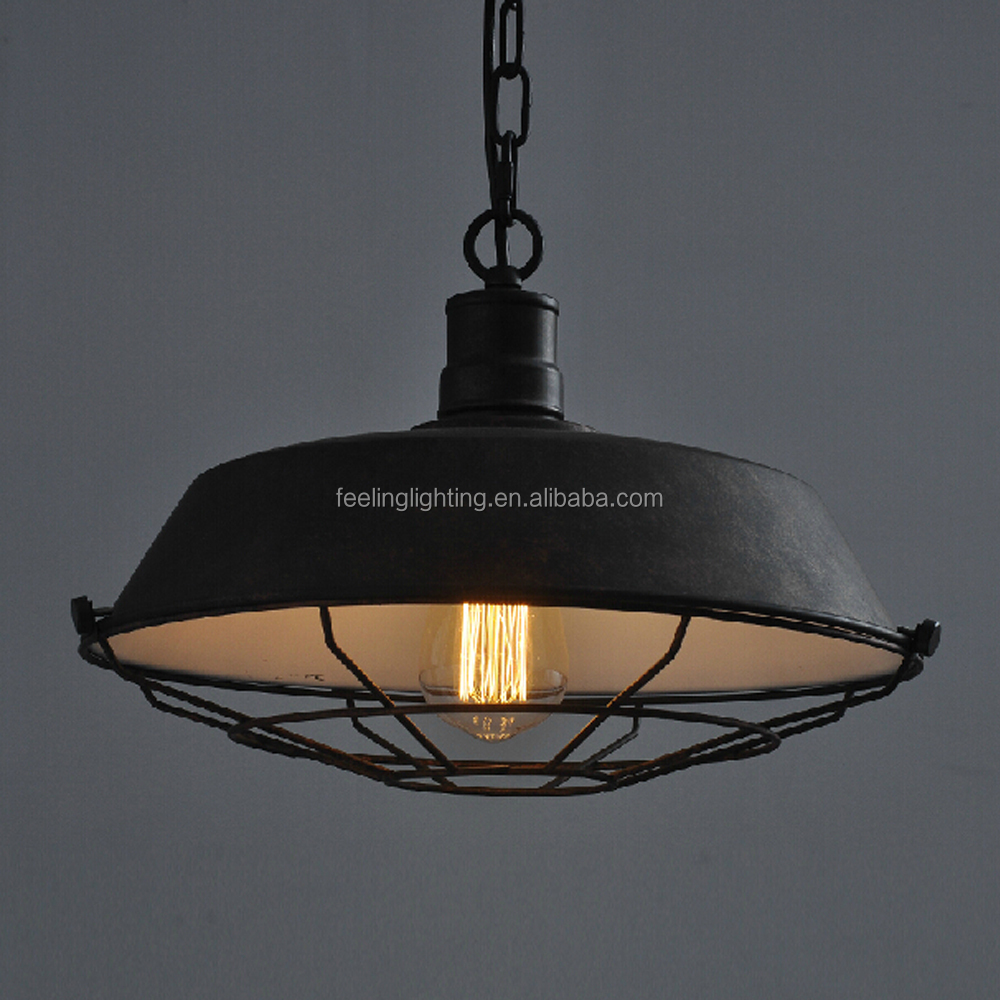 Hot selling America style vintage <strong>industrial</strong> pendant lamp with cage china factory