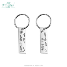 wholesale silver wedding souvenir gift Words my sun and stars couple love key chain