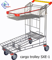 2 layers stainless steel folding cargo trolley &shopping cart max capacity 200kg
