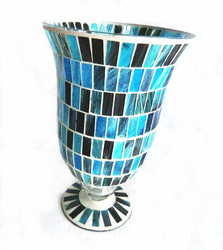 Unique Pedestal Handmade mosaic tall Glass Candle Holder