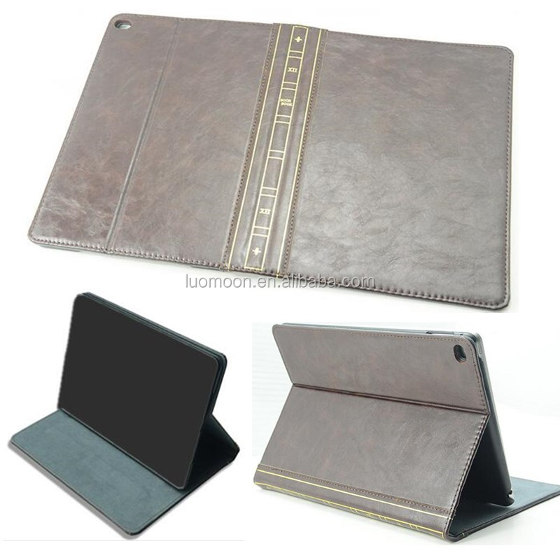 classic retro book style leather tablet case for ipad mini air pro 2 3 4 5 6 for Samsung galaxy tab S Q pro 2 3 4 5 for dell