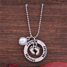 "Copper Family Jewelry Necklace Antique Silver White Feet Round Message "" Mother "" Acrylic Imitation Pearl"