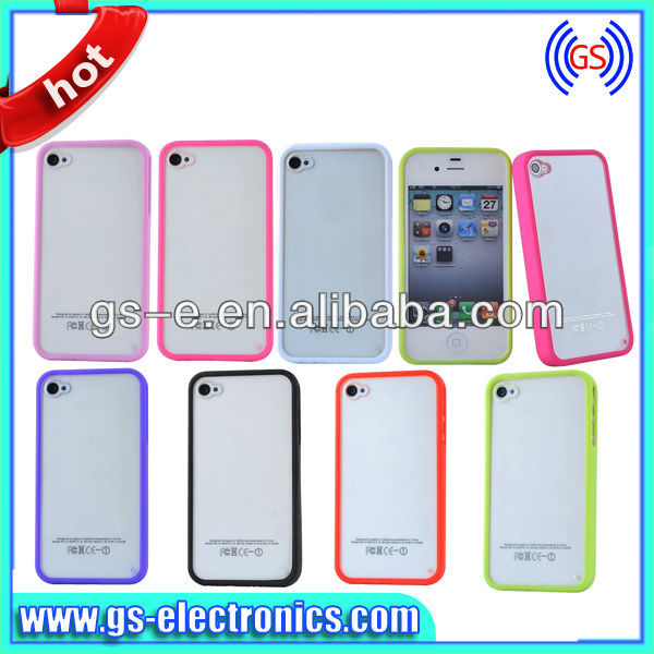 two color transparent PC+TPU phone case for iPhone 5 ultra thin Super Sticker