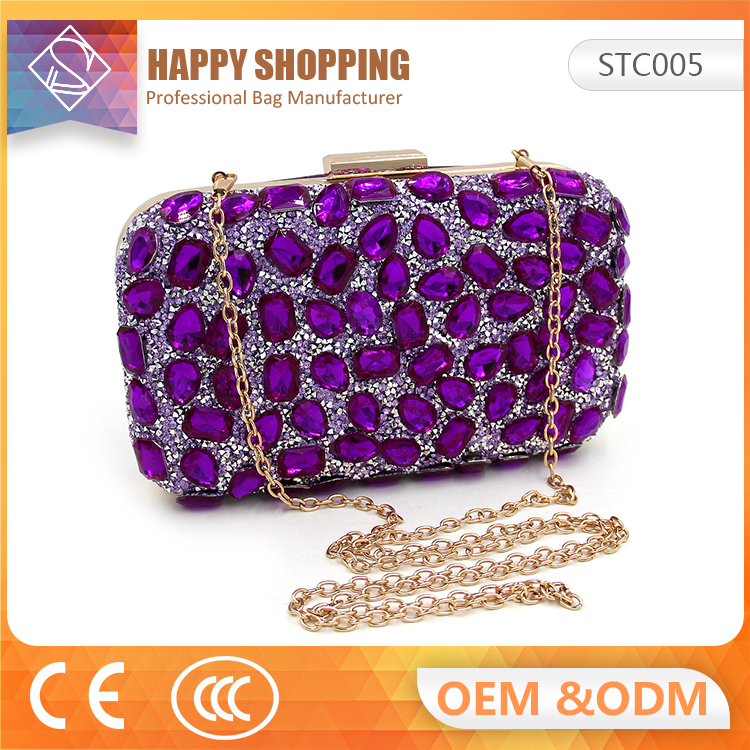 Factory wholesale Fashion style women crystal clutch bag evening