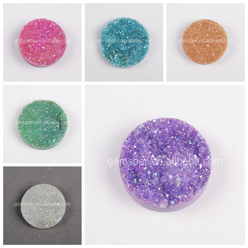 2015 new products 15mm round dyed color natural druzy stone wholesale