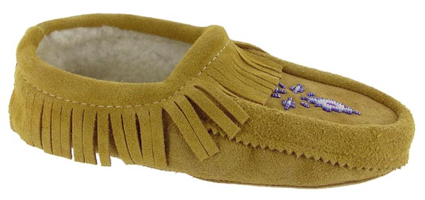 Traditional Native American Indian Moccasins shoes Tan Sue Fringe