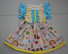 Back to school children spring summer frocks designs new flutter sleeves ruffle fairy dress toddlers clothes