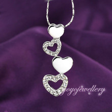 Valentine's day couple new design crystal long drop heart necklace