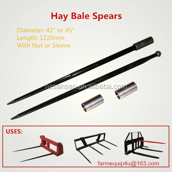 "39inch Forged tapered penetrator hay bale spears spike prong;Bale Spear 39"" Hay Tines w/ Weld In Sleeve"