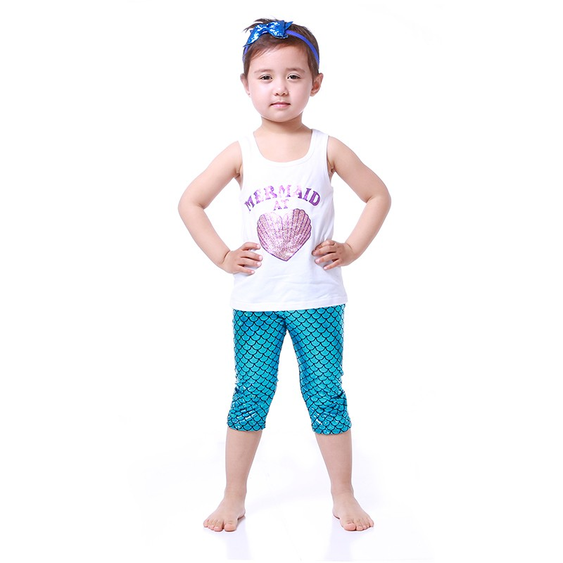 Fashionable Little Mermaid sequin outfits western girls capris legging set wholesale children clothing