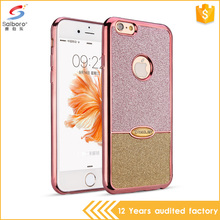 Multi color korean style electroplated glitter tpu ladies cell phone case for iPhone 6plus