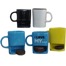 Color Glazed Cheap ceramic white cookie holder custom coffee mugs with biscuit holder