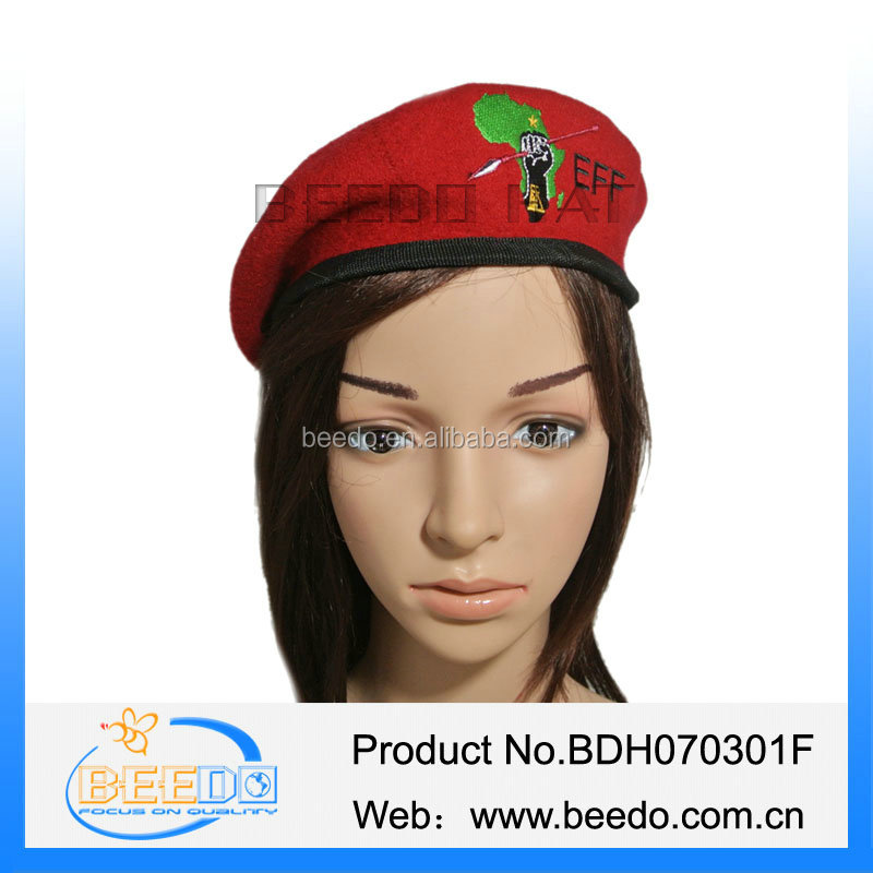 High quality 100% Wool knitting army beret hat with embroidered logo