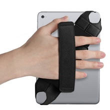 Universal Tablet Grip Hand Strap Holder 360 Degrees Swivel PU Leather Handle Grip with Elastic Belt