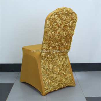 Wedding Decoration Gold Back Stain Rosette Spandex Chair Cover