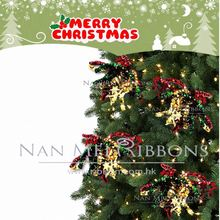 New Special Idea Christmas Tree Decoration Plastic Ribbon Curly Bows with Star Pattern Happy Holiday Highlight item