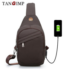 nylon sling chest bag travel hiking simple trend usb charge backpack