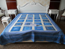 Check design pure handmade cotton patchwork bed sheet