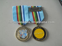 customized military souvenir challenge coin with safety pin ribbon