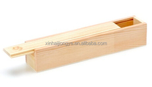 Customized Unfinished Wood Pencil Box With Sliding Lid
