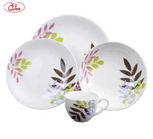 Super white germany fine porcelain dinner set with pink brown and green leaves YG17232
