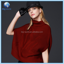 Fashion short sleeve sweater cloak, women's knit tops fashion sweater design, knit pullover 2015 joker pattern
